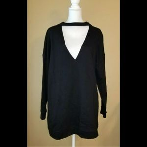 Tob sz m cotton v-neck long sleeves sweater dress